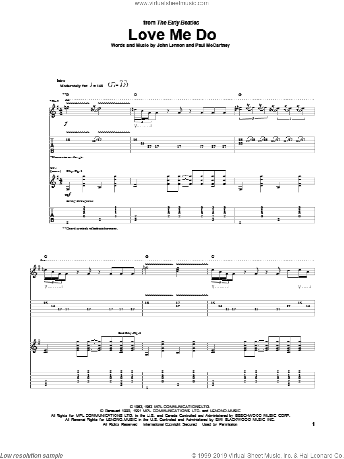 Love Me Do sheet music for guitar (tablature) by Paul McCartney, The Beatles and John Lennon