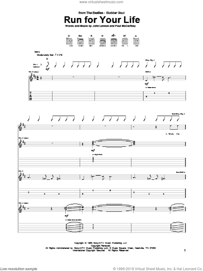 Run For Your Life sheet music for guitar (tablature) by The Beatles, John Lennon and Paul McCartney, intermediate skill level