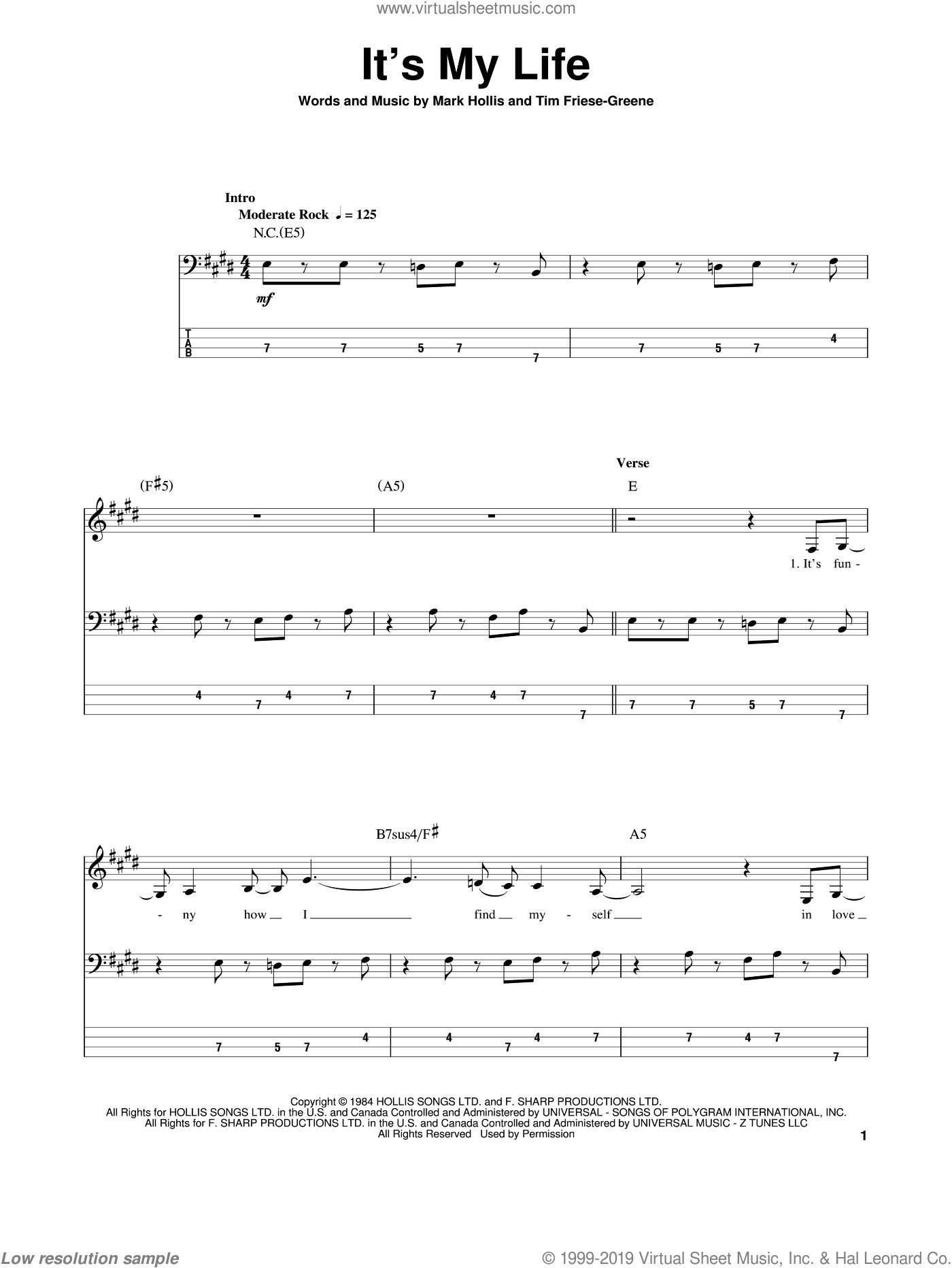 It's My Life sheet music for bass (tablature) (bass guitar) by No Doubt, Talk Talk, Mark Hollis and Tim Friese-Greene, intermediate skill level