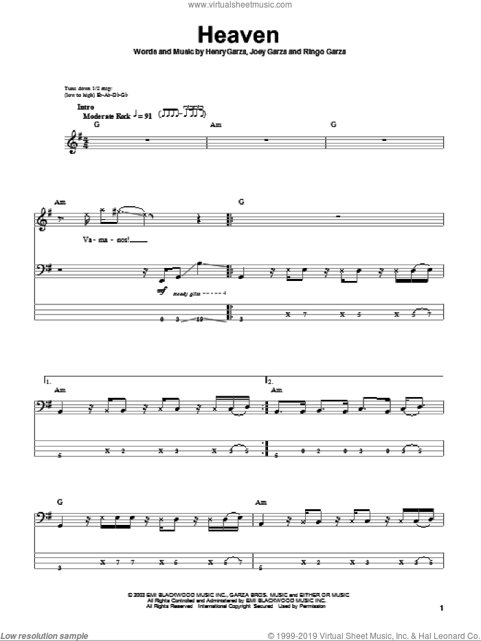 Heaven sheet music for bass (tablature) (bass guitar) by Los Lonely Boys, intermediate. Score Image Preview.