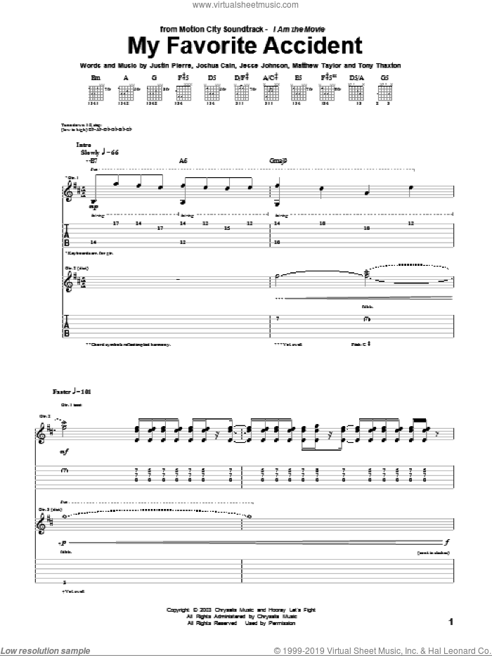 My Favorite Accident sheet music for guitar (tablature) by Motion City Soundtrack. Score Image Preview.