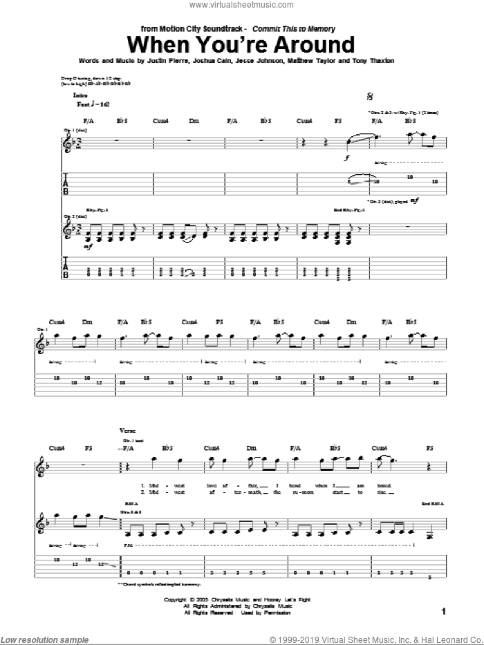 When You're Around sheet music for guitar (tablature) by Motion City Soundtrack, Jesse Johnson, Joshua Cain, Justin Pierre, Matthew Taylor and Tony Thaxton, intermediate skill level