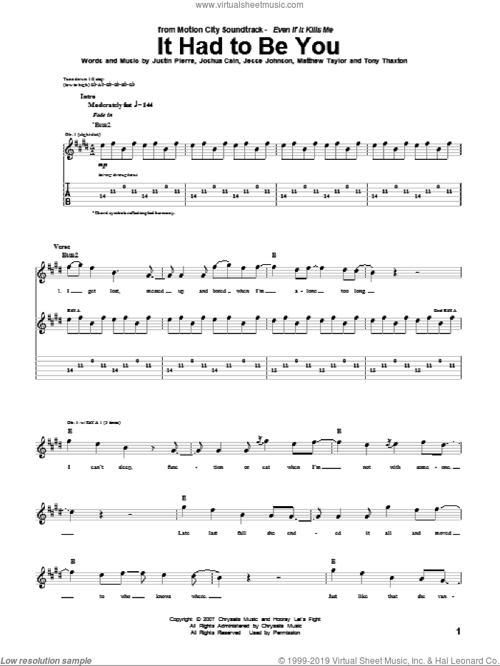 It Had To Be You sheet music for guitar (tablature) by Motion City Soundtrack, Jesse Johnson, Joshua Cain, Justin Pierre, Matthew Taylor and Tony Thaxton, intermediate skill level