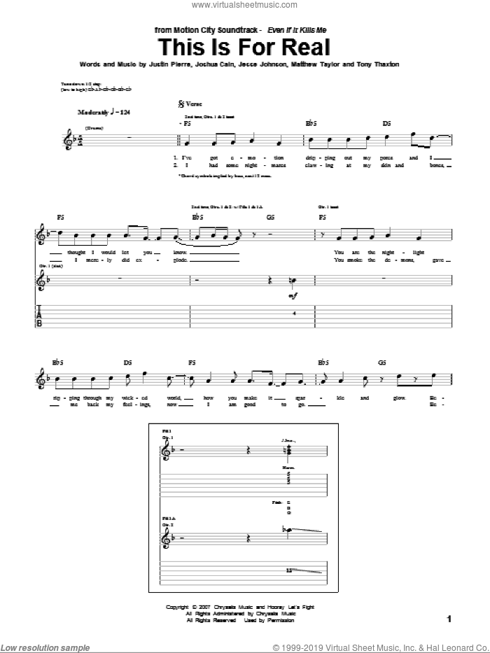 This Is For Real sheet music for guitar (tablature) by Motion City Soundtrack, intermediate