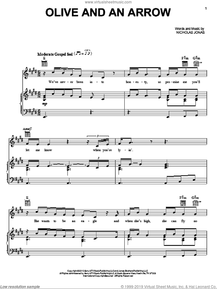 Olive And An Arrow sheet music for voice, piano or guitar by Nicholas Jonas. Score Image Preview.