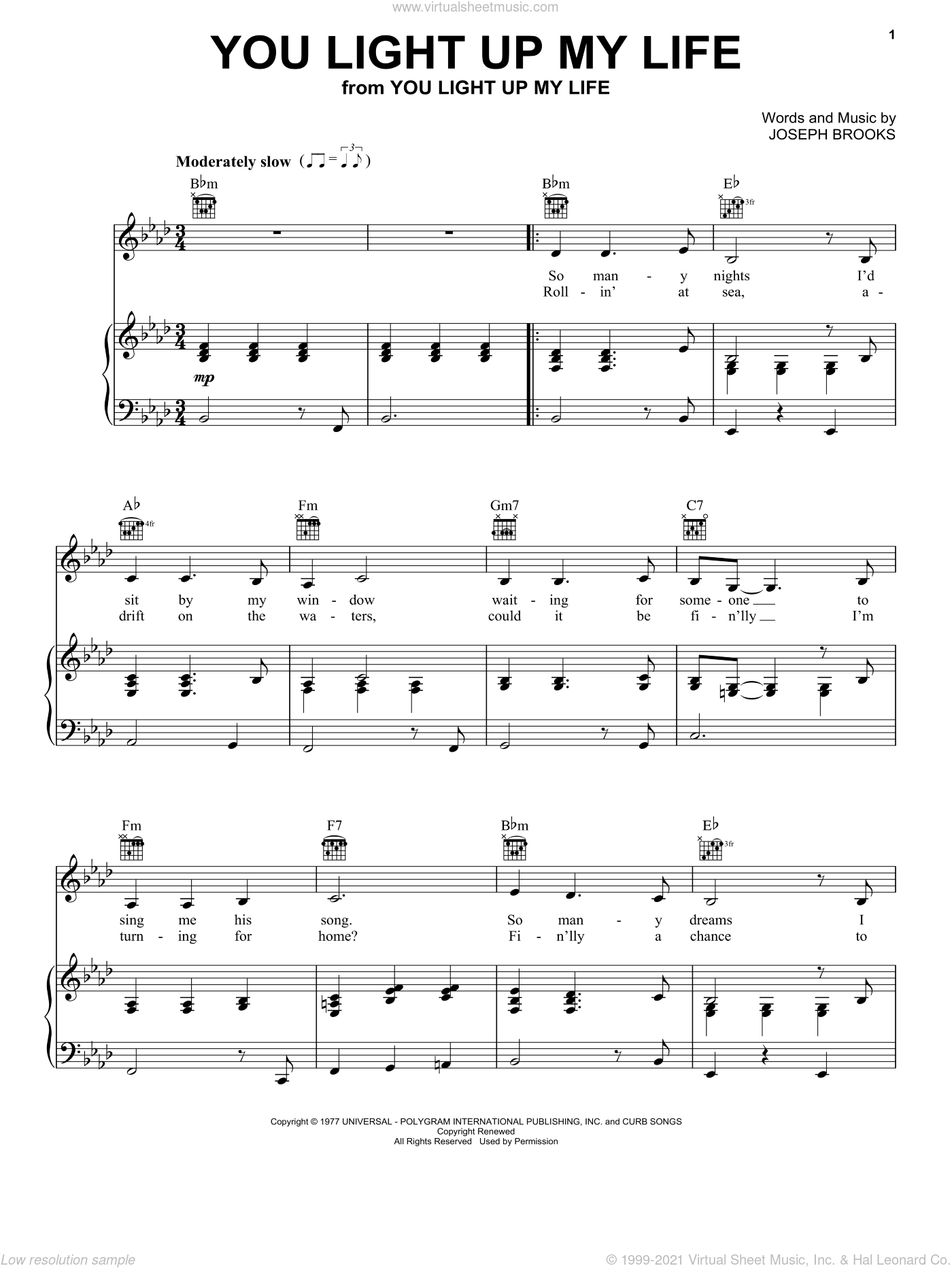 You Light Up My Life sheet music for voice, piano or guitar by Debby Boone, Kenny Rogers, LeAnn Rimes and Joseph Brooks, intermediate. Score Image Preview.