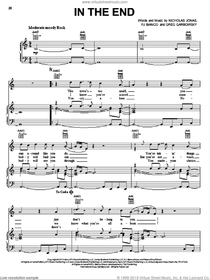 In The End sheet music for voice, piano or guitar by Nick Jonas & The Administration, Nick Jonas, Greg Garbowsky, Nicholas Jonas and PJ Bianco, intermediate. Score Image Preview.