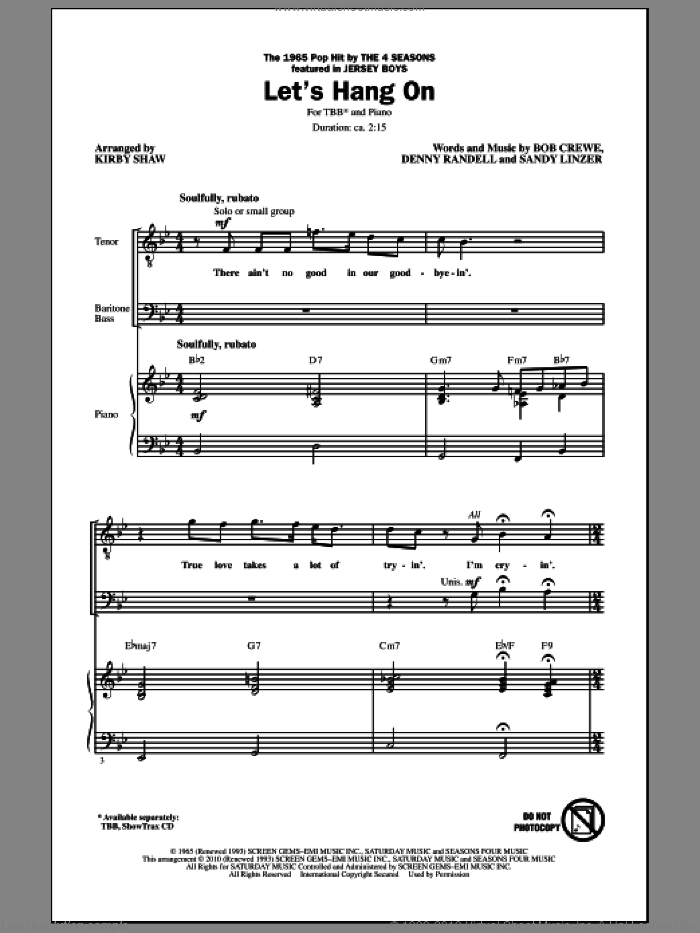Let's Hang On sheet music for choir (tenor voice, bass voice, choir) by Bob Crewe, Kirby Shaw and Sandy Linzer. Score Image Preview.