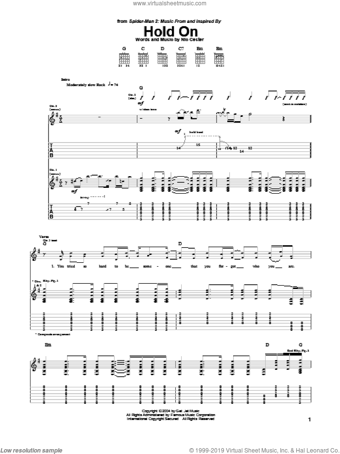 Hold On sheet music for guitar (tablature) by Nic Cester