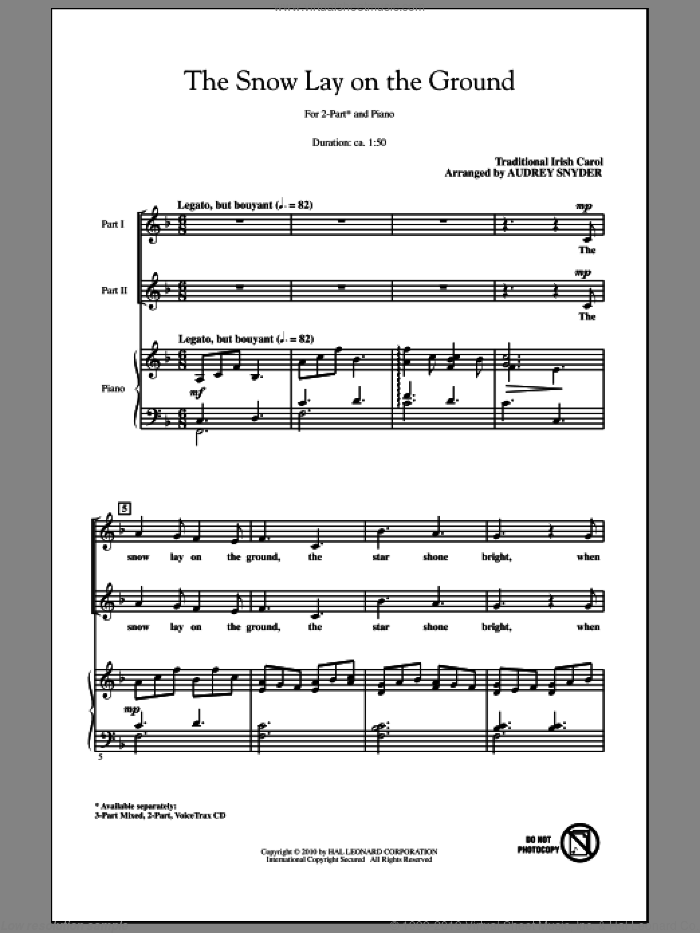The Snow Lay On The Ground sheet music for choir (2-Part) by Audrey Snyder and Miscellaneous, intermediate duet