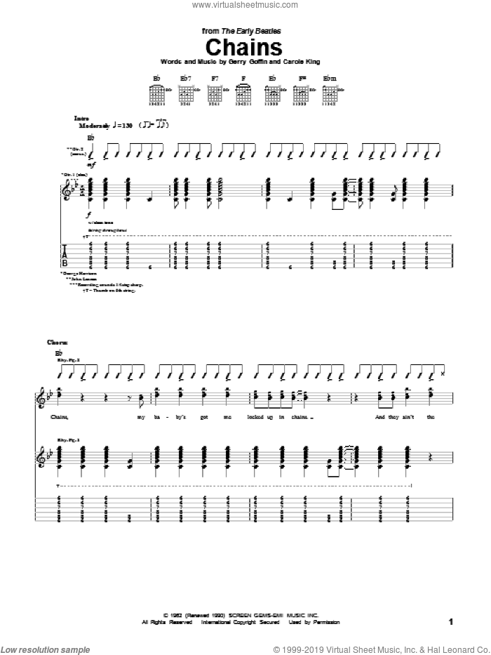Chains sheet music for guitar (tablature) by The Beatles, Carole King and Gerry Goffin. Score Image Preview.