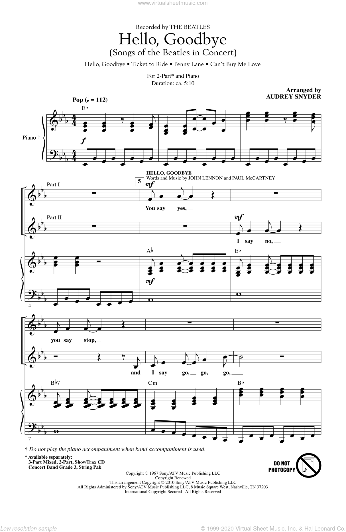 Hello, Goodbye (Songs Of The Beatles In Concert) sheet music for choir and piano (duets) by Paul McCartney, Audrey Snyder, John Lennon and The Beatles. Score Image Preview.