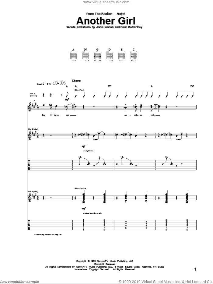 Another Girl sheet music for guitar (tablature) by The Beatles, John Lennon and Paul McCartney, intermediate skill level