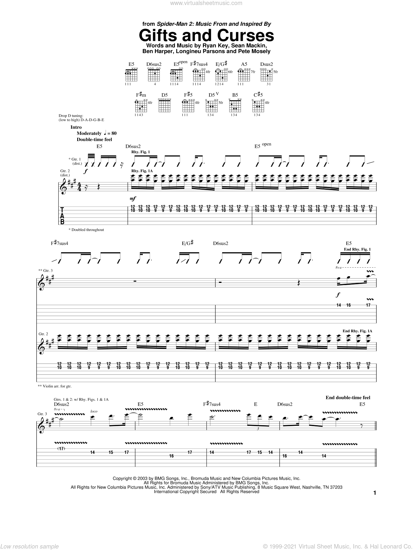 Gifts And Curses sheet music for guitar (tablature) by Sean Mackin, Ben Harper and Ryan Key. Score Image Preview.