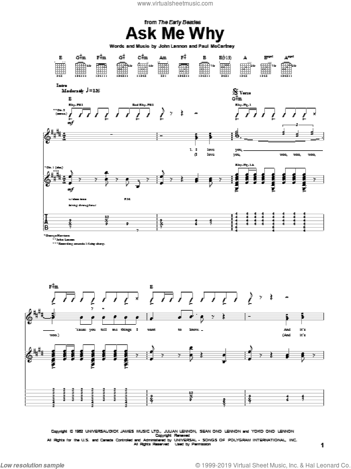 Ask Me Why sheet music for guitar (tablature) by The Beatles, John Lennon and Paul McCartney, intermediate guitar (tablature). Score Image Preview.