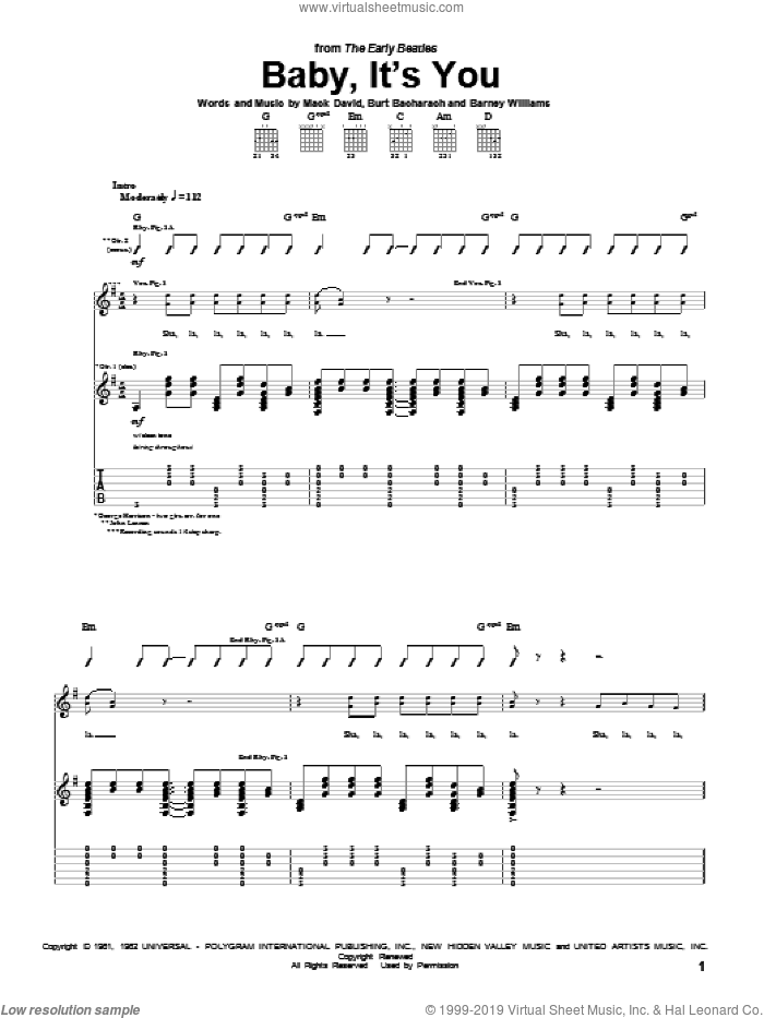 Baby, It's You sheet music for guitar (tablature) by The Beatles, The Shirelles, Burt Bacharach and Mack David. Score Image Preview.