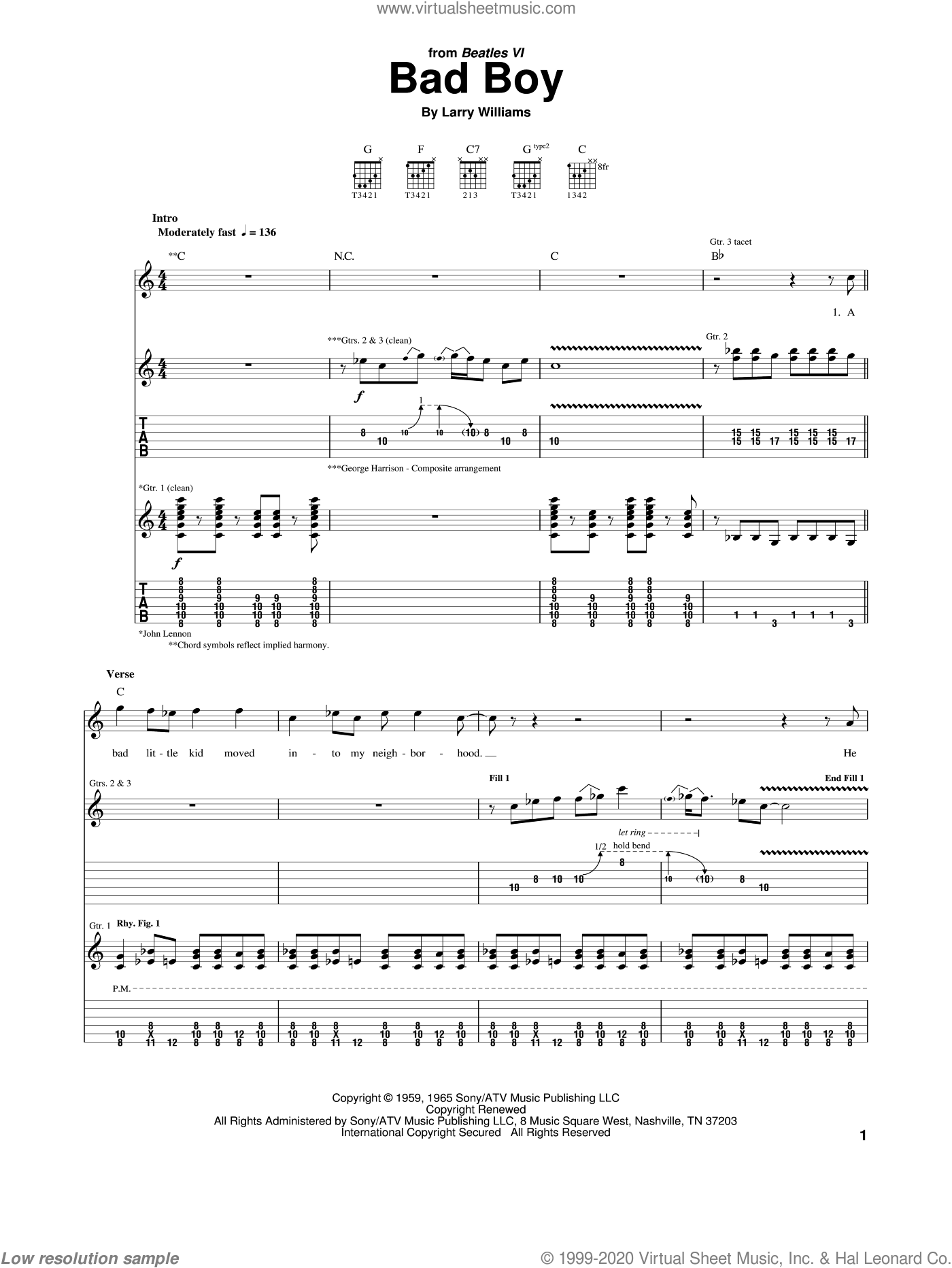 Bad Boy sheet music for guitar (tablature) by The Beatles and Larry Williams. Score Image Preview.