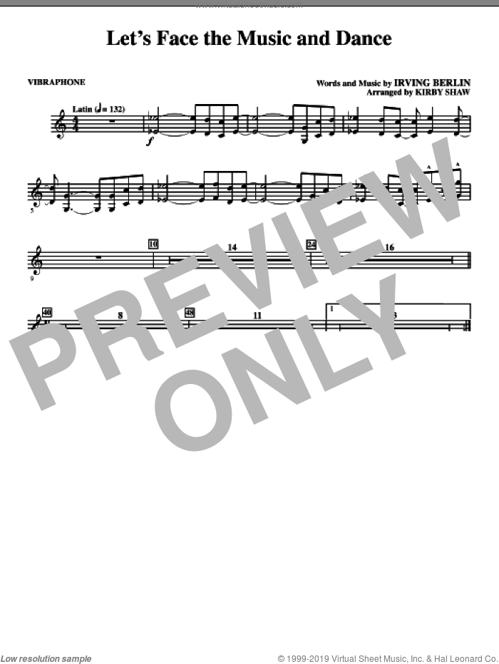 Let's Face The Music And Dance (complete set of parts) sheet music for orchestra/band (Rhythm) by Irving Berlin and Kirby Shaw, intermediate skill level