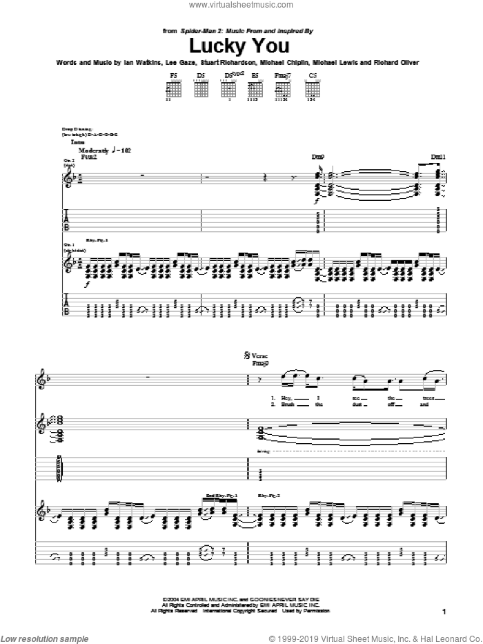 Lucky You sheet music for guitar (tablature) by Stuart Richardson