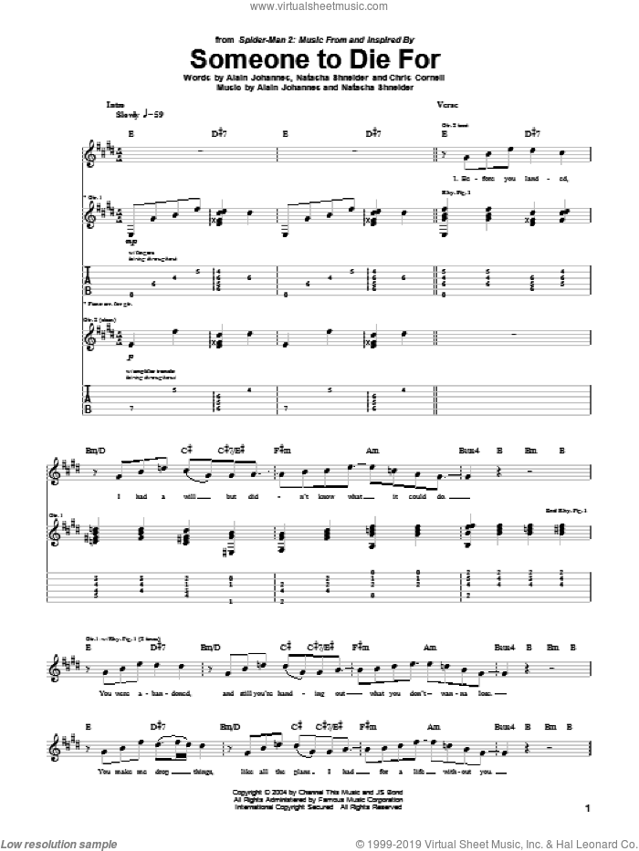Someone To Die For sheet music for guitar (tablature) by Natasha Shneider, Brian May, Alain Johannes and Chris Cornell. Score Image Preview.