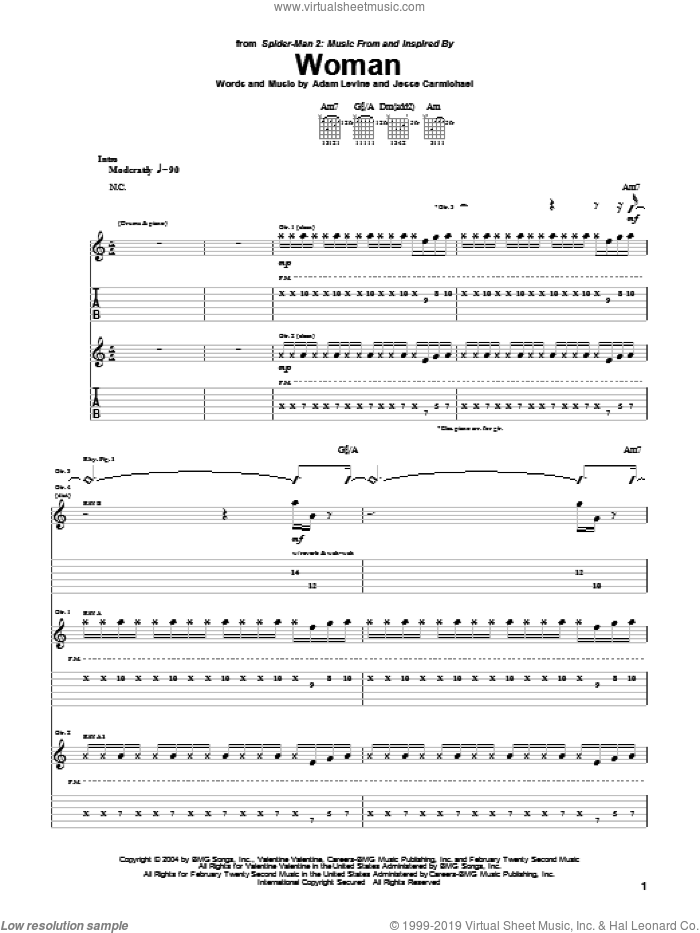Woman sheet music for guitar (tablature) by Maroon 5, Adam Levine and Jesse Carmichael, intermediate