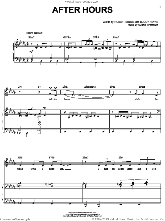 After Hours sheet music for voice and piano by Robert Bruce