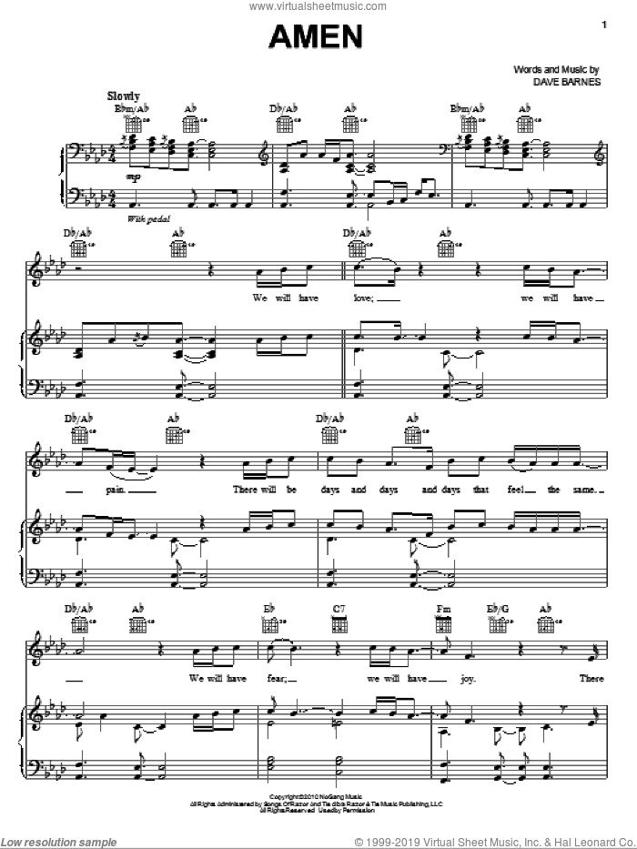 Amen sheet music for voice, piano or guitar by Dave Barnes, intermediate voice, piano or guitar. Score Image Preview.
