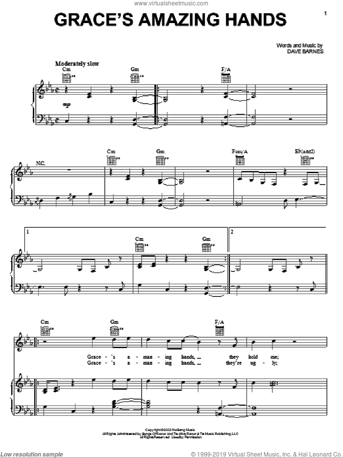 Grace's Amazing Hands sheet music for voice, piano or guitar by Dave Barnes. Score Image Preview.