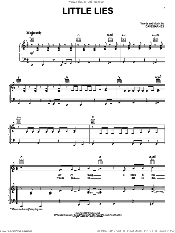 Little Lies sheet music for voice, piano or guitar by Dave Barnes. Score Image Preview.