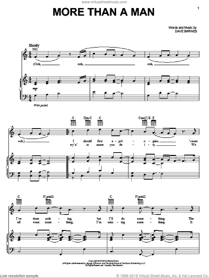 More Than A Man sheet music for voice, piano or guitar by Dave Barnes, intermediate skill level