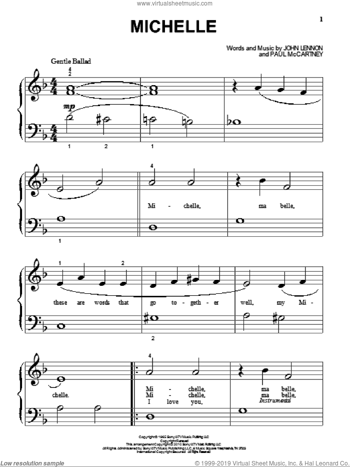 Michelle sheet music for piano solo (big note book) by The Beatles, John Lennon and Paul McCartney. Score Image Preview.