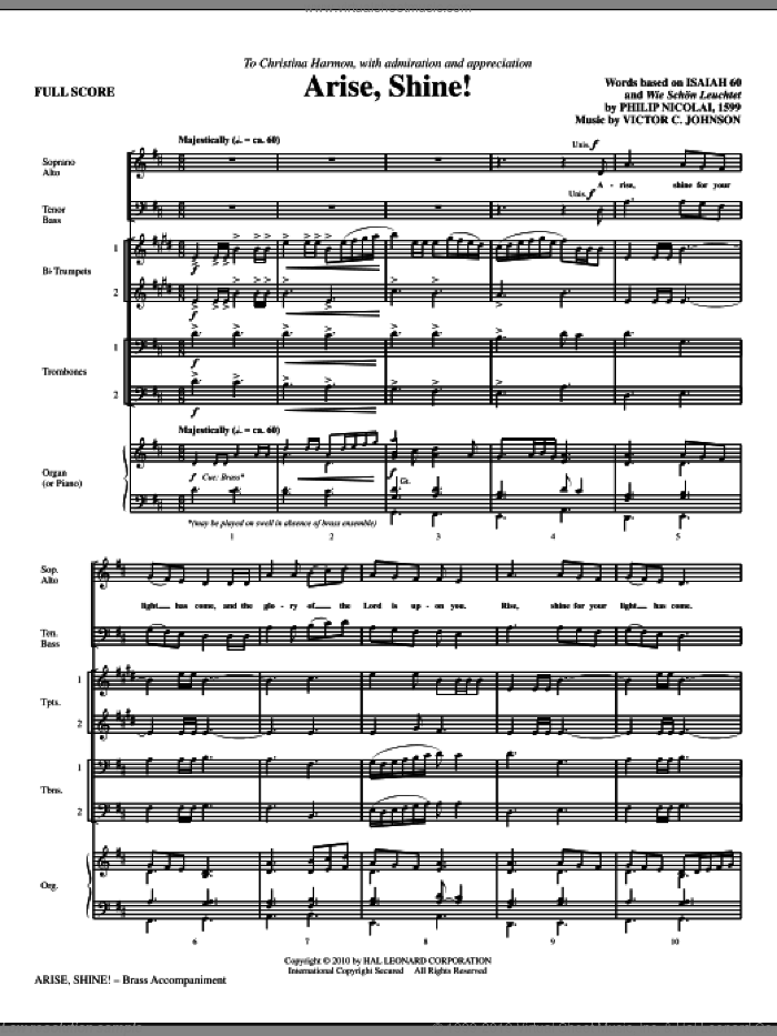Arise, Shine! sheet music for orchestra/band (Brass) by Victor Johnson