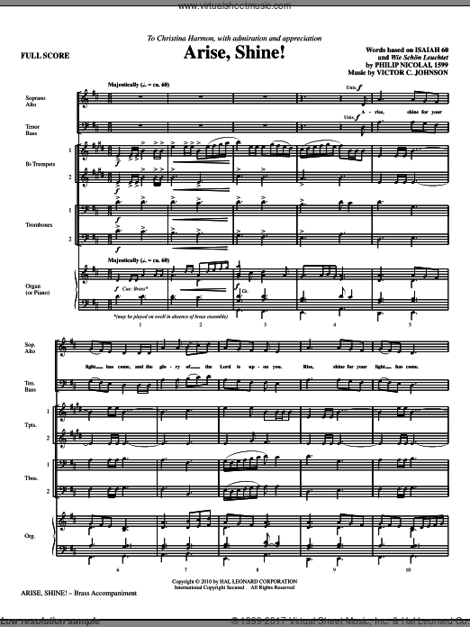 Arise, Shine! (COMPLETE) sheet music for orchestra by Victor Johnson