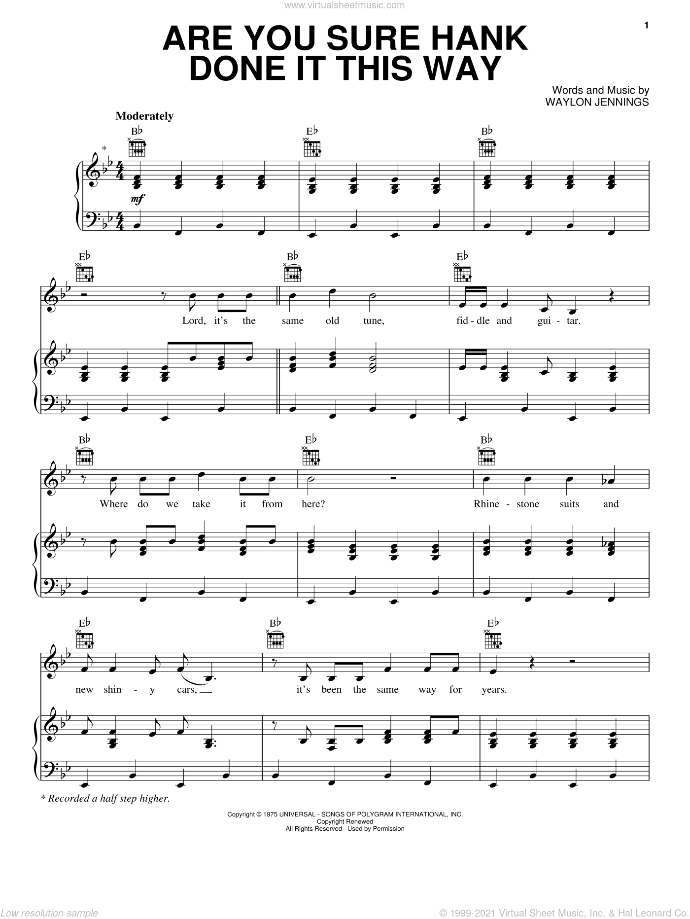 Are You Sure Hank Done It This Way sheet music for voice, piano or guitar by Waylon Jennings and Crazy Heart (Movie), intermediate