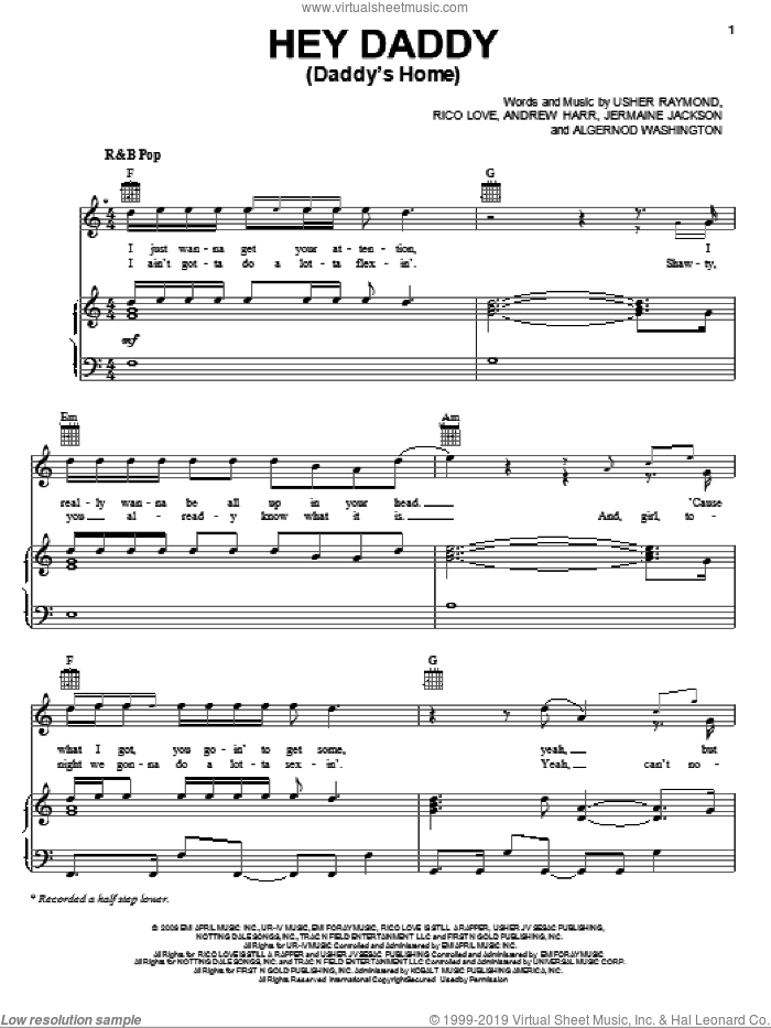 Hey Daddy (Daddy's Home) sheet music for voice, piano or guitar by Usher featuring Plies, Gary Usher, Andrew Harr and Jermaine Jackson. Score Image Preview.