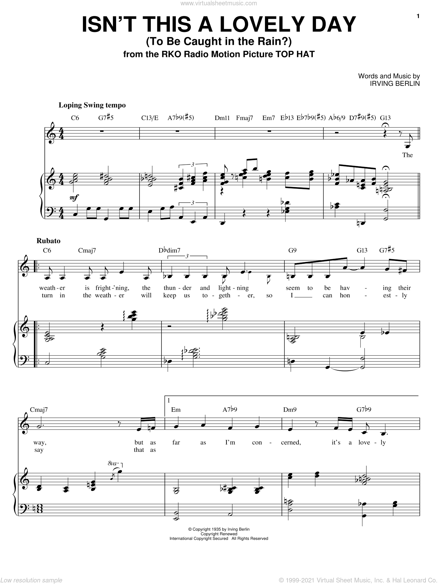 Isn't This A Lovely Day (To Be Caught In The Rain?) sheet music for voice and piano by Sarah Vaughan, Fred Astaire and Irving Berlin, intermediate skill level