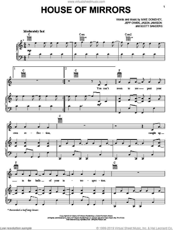 House Of Mirrors sheet music for voice, piano or guitar by Scott Sanders, Tenth Avenue North, Jeff Owen and Mike Donehey. Score Image Preview.