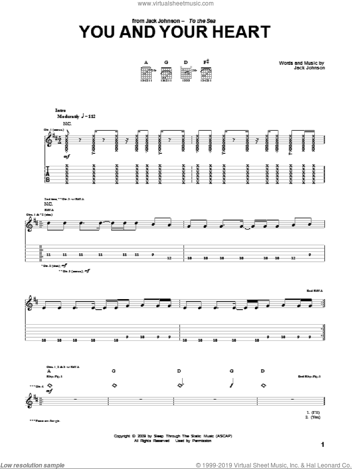 You And Your Heart sheet music for guitar (tablature) by Jack Johnson, intermediate. Score Image Preview.