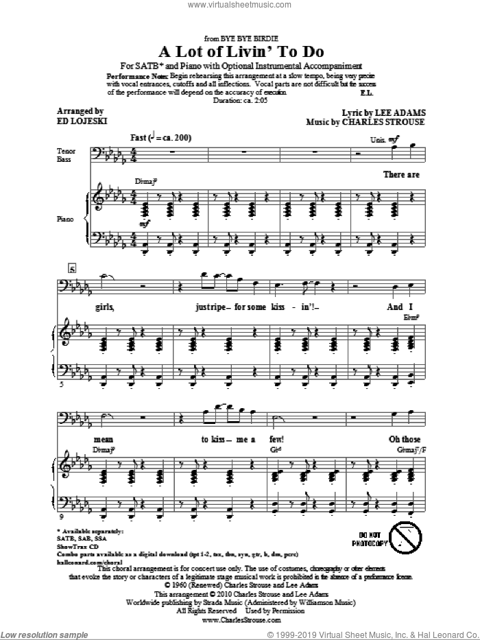 A Lot Of Livin' To Do sheet music for choir (SATB) by Charles Strouse, Ed Lojeski and Lee Adams. Score Image Preview.