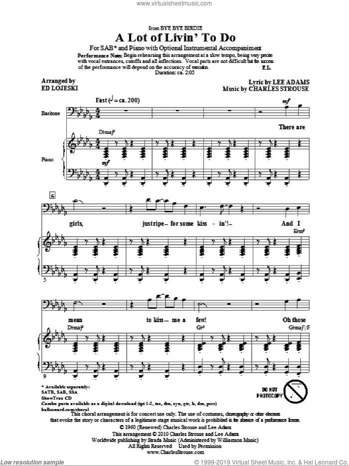 A Lot Of Livin' To Do sheet music for choir (SAB: soprano, alto, bass) by Charles Strouse, Lee Adams and Ed Lojeski, intermediate skill level