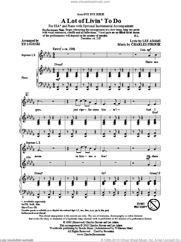 A Lot Of Livin' To Do sheet music for choir (soprano voice, alto voice, choir) by Charles Strouse, Ed Lojeski and Lee Adams