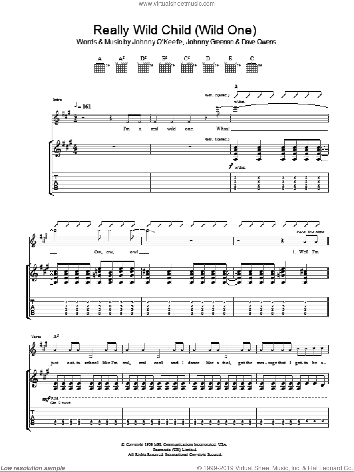 Real Wild Child (Wild One) sheet music for guitar (tablature) by Iggy Pop & Jet, Iggy Pop and Nic Cester, intermediate. Score Image Preview.