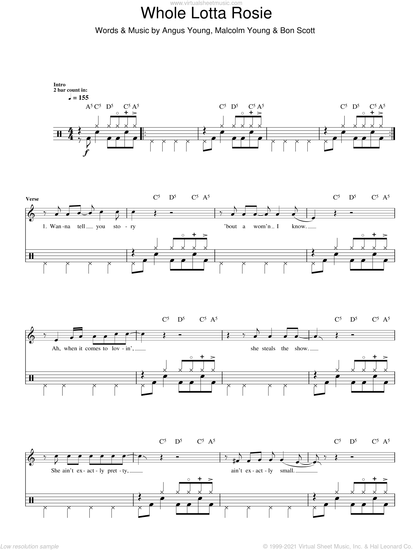 Whole Lotta Rosie (Drums) sheet music for voice and other instruments (fake book) by AC/DC, Angus Young, Bon Scott and Malcolm Young, intermediate skill level