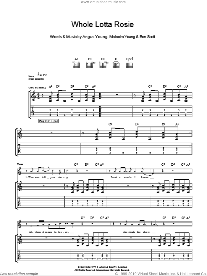 Whole Lotta Rosie sheet music for guitar (tablature) by AC/DC. Score Image Preview.