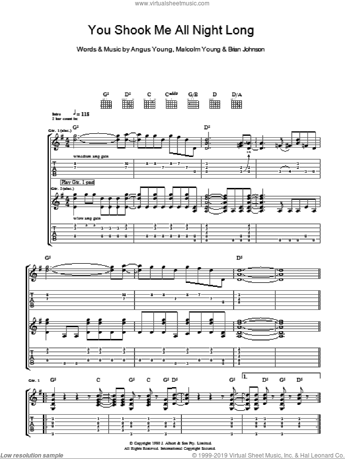 You Shook Me All Night Long sheet music for guitar (tablature) by AC/DC, Angus Young, Brian Johnson and Malcolm Young, intermediate skill level