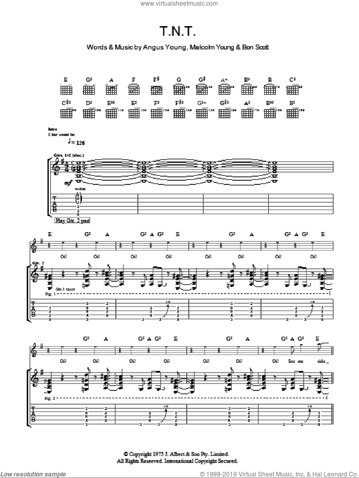 T.N.T. sheet music for guitar (tablature) by AC/DC, intermediate guitar (tablature). Score Image Preview.
