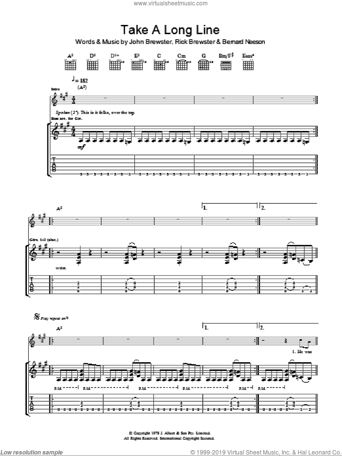 Take A Long Line sheet music for guitar (tablature) by Rick Brewster