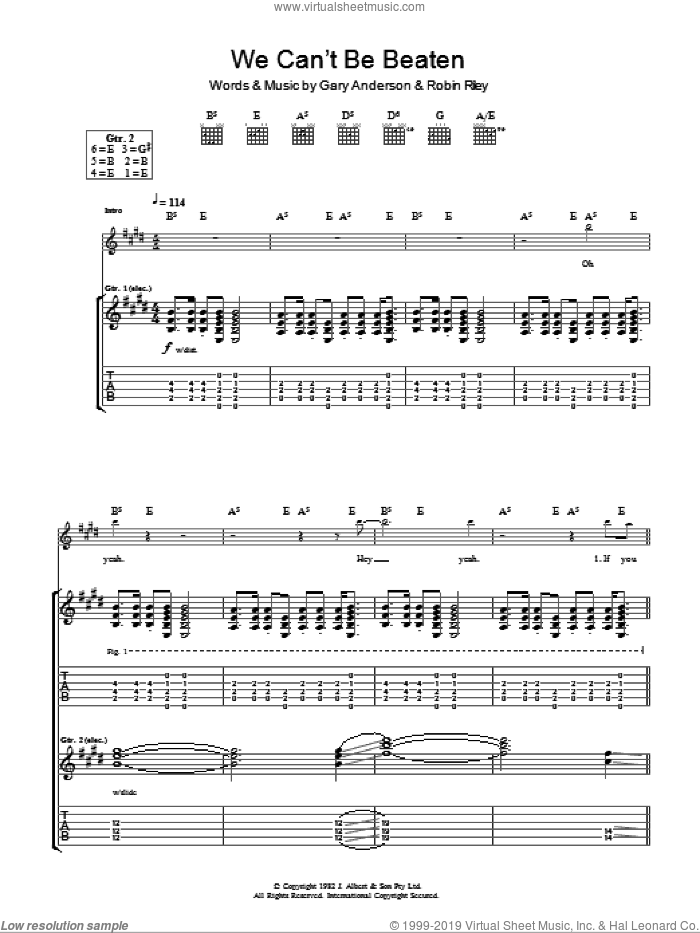 We Can't Be Beaten sheet music for guitar (tablature) by Robin Riley. Score Image Preview.