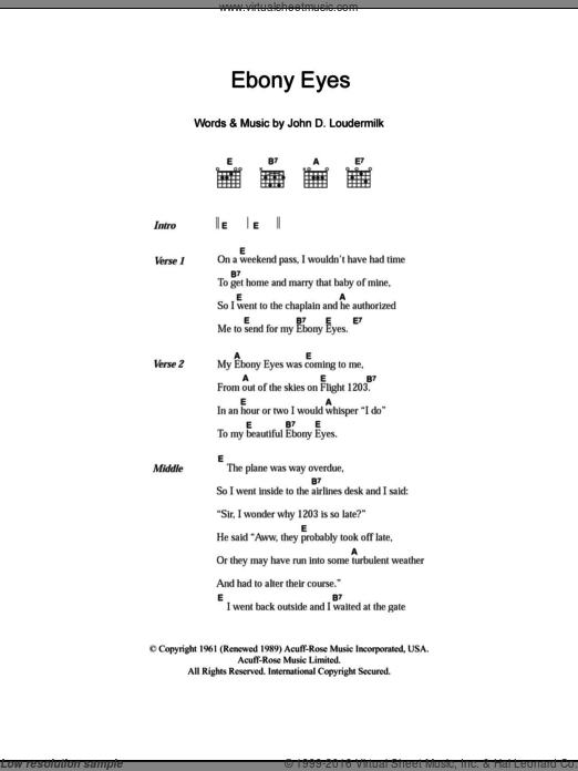 Ebony Eyes sheet music for guitar (chords, lyrics, melody) by John D. Loudermilk
