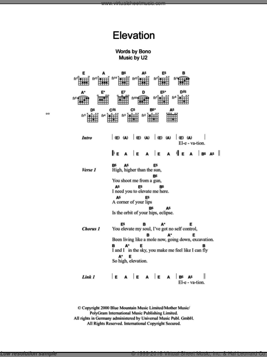 Elevation sheet music for guitar (chords) by Bono